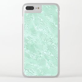 Mint Green Silk Moire Pattern Clear iPhone Case