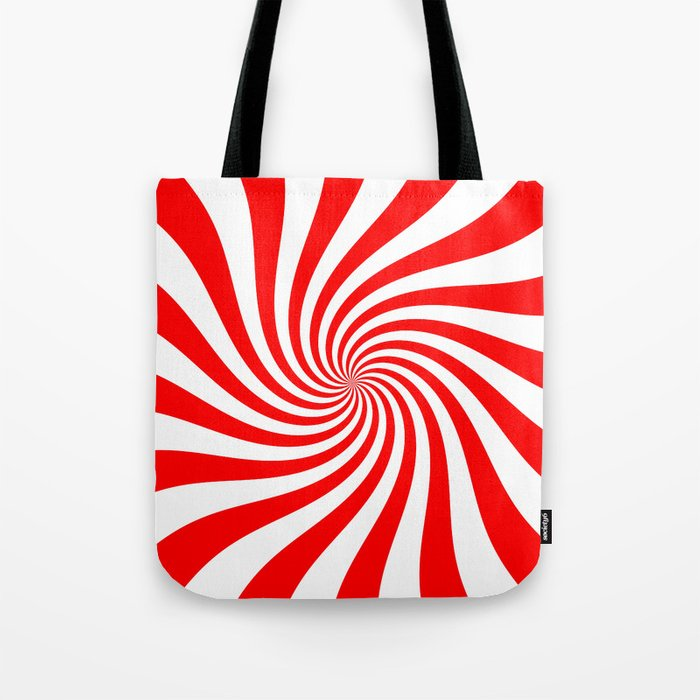 Swirl (Red/White) Tote Bag