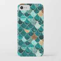 teal iPhone & iPod Cases featuring REALLY MERMAID by Monika Strigel
