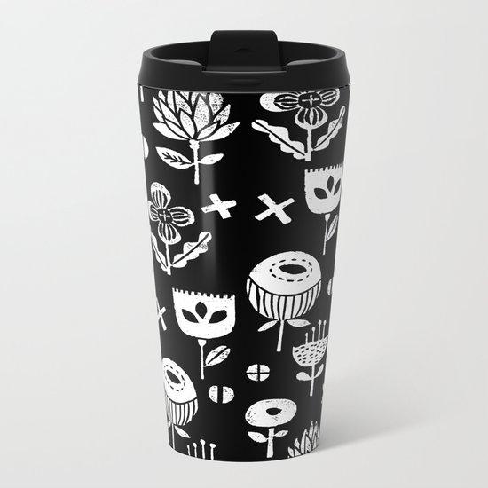 Linocut floral florals minimal scandinavian minimalist art print pattern black and white Metal Travel Mug