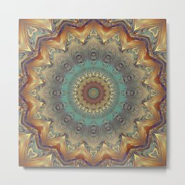 Indian Bohemian Flower Mandala Pattern, Gold Teal and Blue Metal Print