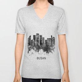 Busan South Korea Skyline BW Unisex V-Neck