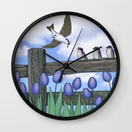purple martin fledges Wall Clock