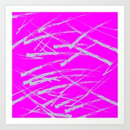 Neon Magenta background with Rough Blue Grey Paint Strokes, Teenage Girl Bedding Art Print