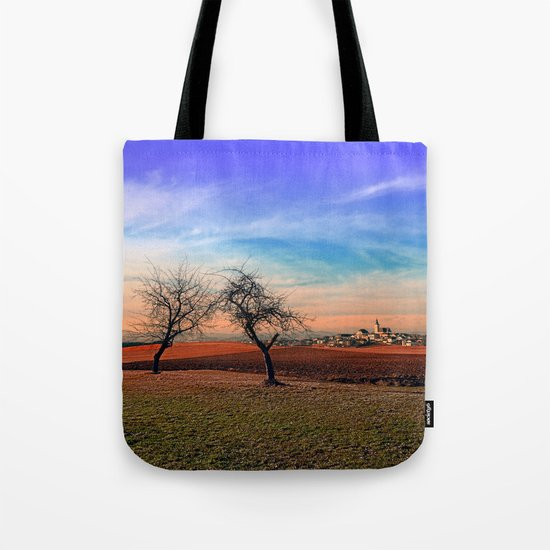 Trees, sunset, clouds, panorama and village | landscape photography Tote Bag