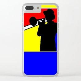 Jazz trombone player silhouette mondrian colors Clear iPhone Case