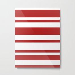 Mixed Horizontal Stripes - White and Firebrick Red Metal Print