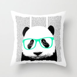 Panda with teal glasses Throw Pillow