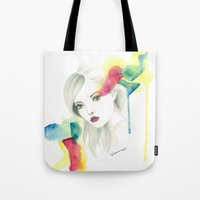 gemma correll Tote Bags featuring Gemma Ward by Simona Borstnar