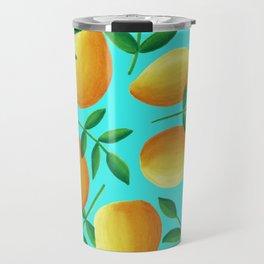 Lemons on Teal Travel Mug