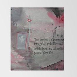 The Door----Religious Abstract Art --- John 10:9 --- by Saribelle Rodriguez Throw Blanket