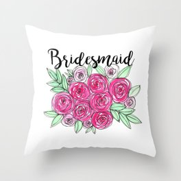 Bridesmaid Wedding Pink Roses Watercolor Throw Pillow