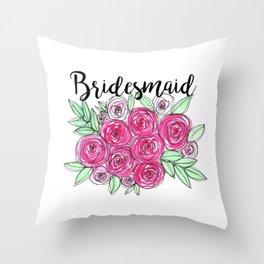 Bridesmaid Wedding Pink Roses Watercolor Throw Pillow
