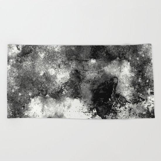 Deja Vu - Black and white, textured painting Beach Towel