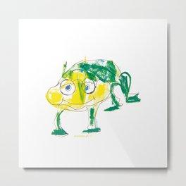 Crazy frog illustration, green frog design, frog pattern for children Metal Print