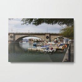 boats and marina with london bridge in the background, lake havasu city, arizona, usa Metal Print