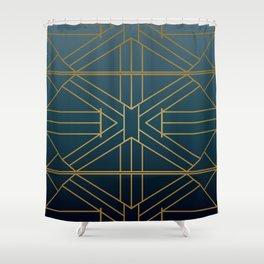 Navy & Bronzed Gold Striped Metallic Print Shower Curtain