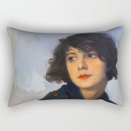 Woman with green shawl (detail), Cyprien Eugène Boulet (1920) Rectangular Pillow