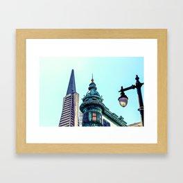 pyramid building and vintage style building at San Francisco, USA Framed Art Print