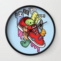 shoe Wall Clocks featuring shoe pirates by ybalasiano