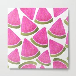 Watercolour Watermelons Metal Print