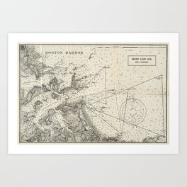 Vintage Map of Boston Harbor (1903) Art Print