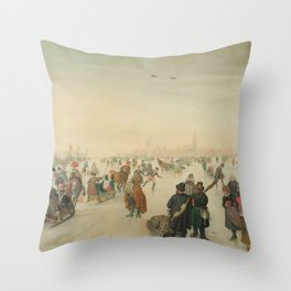 Winter landscape at a city - Hendrick Avercamp (1620) Throw Pillow