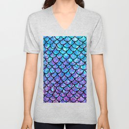 Purples & Blues Mermaid scales Unisex V-Neck