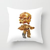 c3po Throw Pillows featuring C3PO by oRen