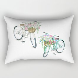 Two Vintage Bicycles With Flower Baskets Rectangular Pillow