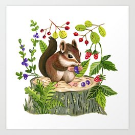 Berry Loving Chippy Art Print