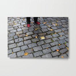 Red Shoes and Stumbling Stone Metal Print