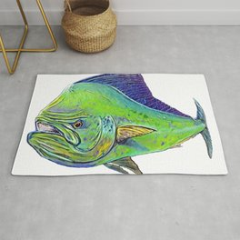 Mahi Mahi Dolphinfish Dorado Draw Bright Polished Surface Rug