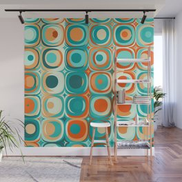 Orange and Turquoise Dots Wall Mural
