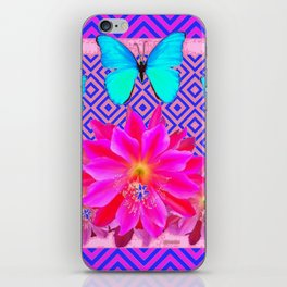 Fuchsia Orchid Flowers Turquoise Butterfly Patterns iPhone Skin