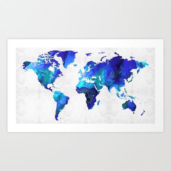 World Map 17 - Blue Art By Sharon Cummings Art Print