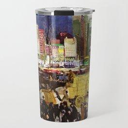 Bustling Big City New York landscape painting by George Wesley Bellows Travel Mug