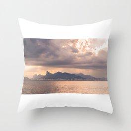 Heavens Burst over Christ the Redeemer Throw Pillow