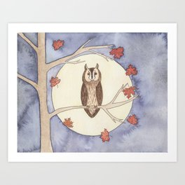 Long-Eared Owl Watercolor Art Print