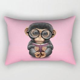 Cute Pink Baby Chimp Reading a Book Rectangular Pillow