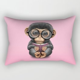 Cute Pink Baby Chimp Reading a Book Rectangular Pillow