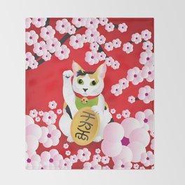 Sakura Maneki Neko Throw Blanket