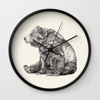 bear Wall Clocks featuring Bear // Graphite by Sandra Dieckmann