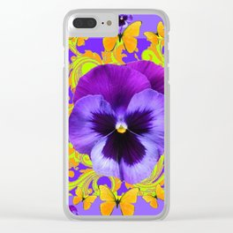 PURPLE PANSIES YELLOW BUTTERFLIES ABSTRACT FLORAL Clear iPhone Case