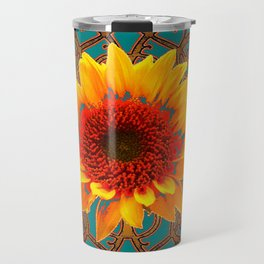 Teal Red Golden Sunflowers Yellow Pattern Art Travel Mug