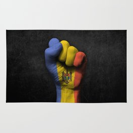 Moldovan Flag on a Raised Clenched Fist Rug