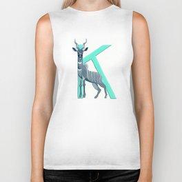 K is for Kudu Letter Alphabet Decor Design Art Pattern Biker Tank