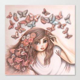 Paper Butterflies with girl Canvas Print