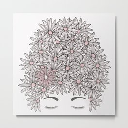 Mind full of flowers. Head with daisy flowers and eyes closed Metal Print