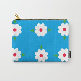 White Flowers on Blue Background Carry-All Pouch